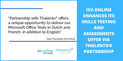ISV.Online Significantly Enhances its Skills Testing and Assessments Offer via Thalento® Partnership